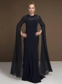 Güpür Aplikli Şifon Uzun Kollu Elbise - Lacivert - MODAYSA