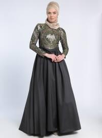 Jakarlı Tafta Abiye Elbise - Yeşil Siyah - MODAYSA
