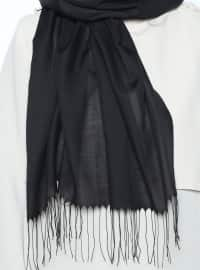 Viscose - Fringe - Plain - Black - Shawl