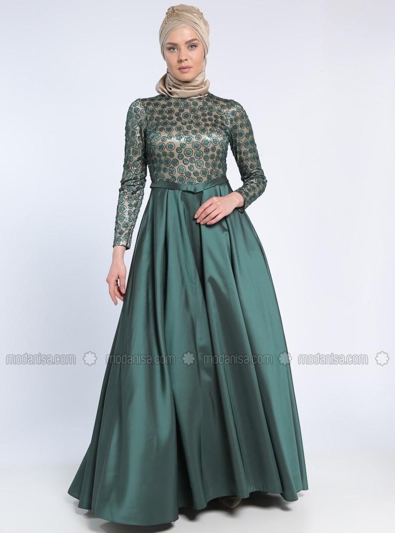 Fully Lined - Beige - Green - Crew neck - Muslim Evening Dress