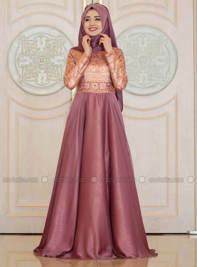 pink fully lined round collar muslim evening dress With modanisa robe longue