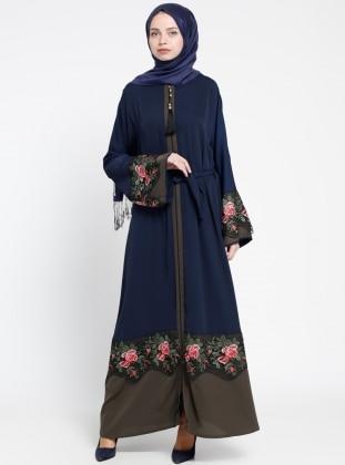 Fermuarlı Abaya - Lacivert Jamila