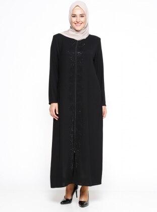 Black - Crew neck - Unlined - Plus Size Abaya - ModaNaz 303977