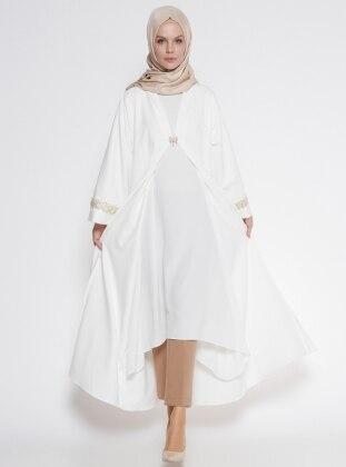 Güpür Detaylı Abaya - Beyaz