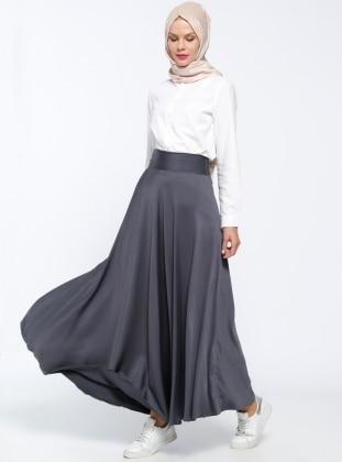 Black - Gray - Fully Lined - Skirt - Veteks Line 303924