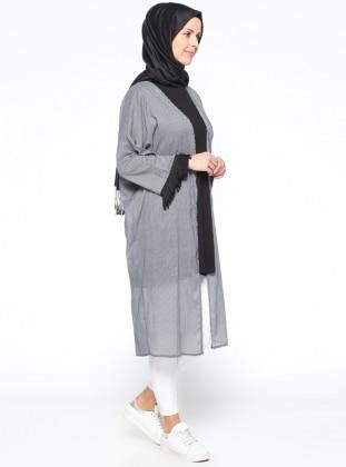 Kolları Püsküllü Kimono - Siyah Gri