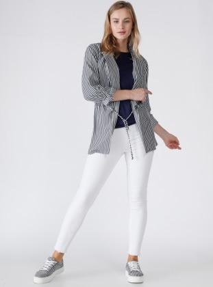 Dilvin Nopeli Pantolon - Beyaz
