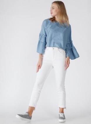 Paçası Tüylü Pantolon - Beyaz