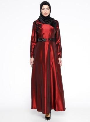 Maroon - Crew neck - Fully Lined - Muslim Evening Dress