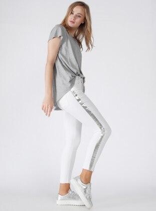 Dilvin Yanı Varaklı Pantolon - Beyaz
