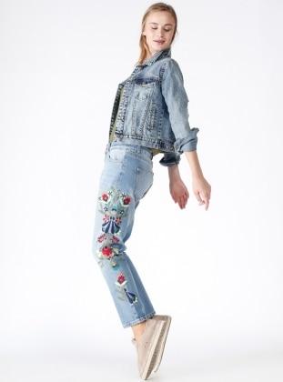 Yanları Nakışlı Kot Pantolon - Mavi