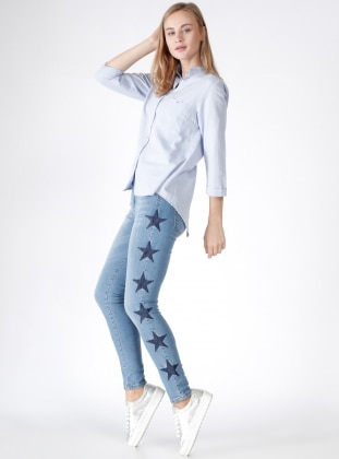 Yıldız Nakışlı Kot Pantolon - Mavi