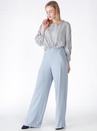Yüksek Bel Bol Paça Pantolon - Mavi