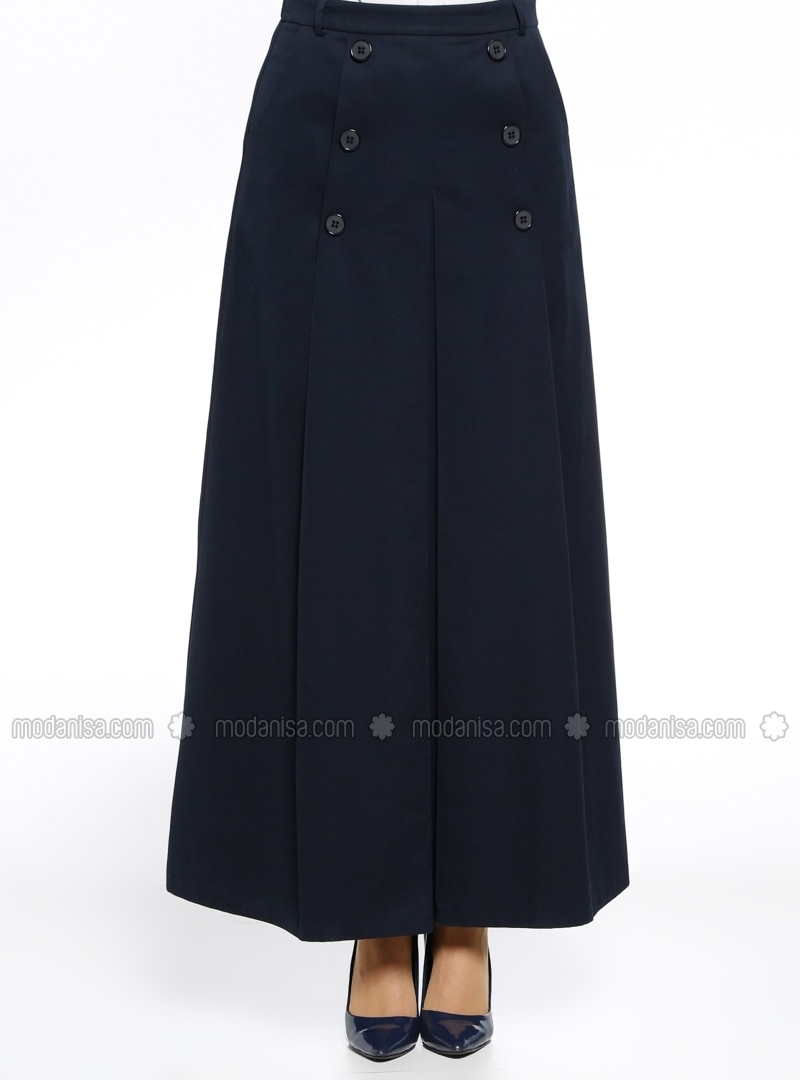 navy blue fully lined cotton skirt armine