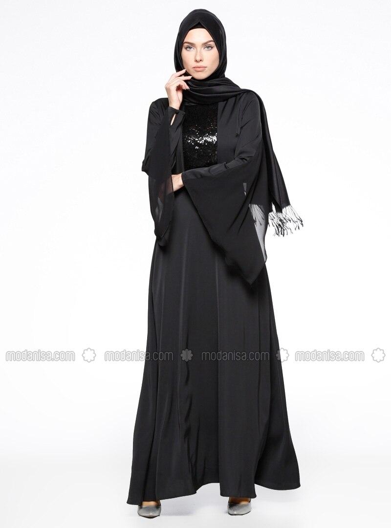 Related pictures armine tak elbise tesett abiye modelleri - Payetli Elbise Siyah Armine