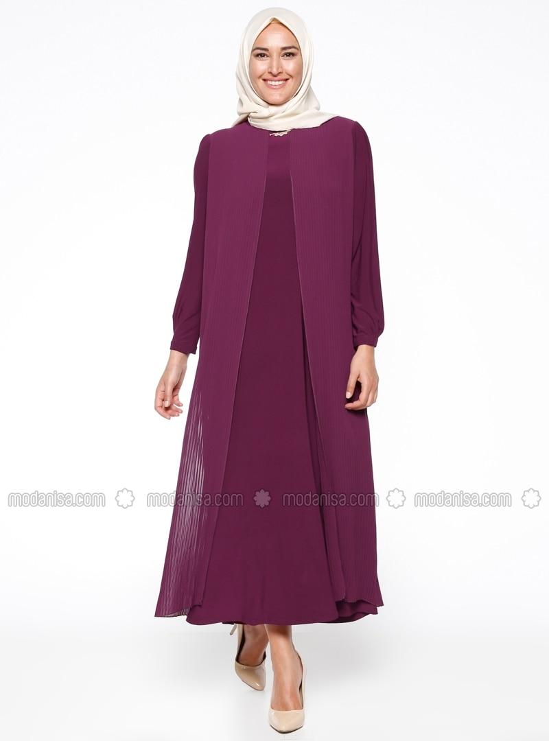 Related pictures armine tak elbise tesett abiye modelleri - Piliseli Abiye Elbise Mor Armine