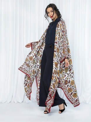 Store Wf Desenli Kimono - Bordo Kahve