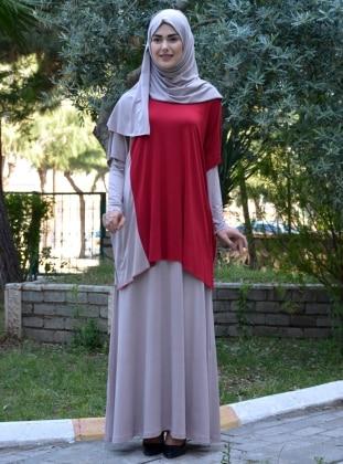 Elbise&Tunik İkili Takım - Bordo Vizon
