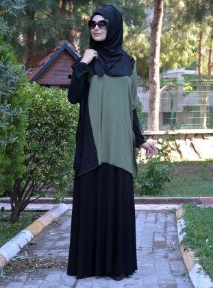 Elbise&Tunik İkili Takım - Haki Siyah