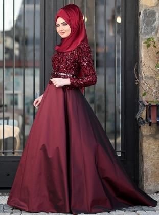 Esra Abiye Elbise - Bordo