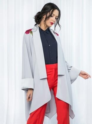 Store Wf Nakış Detaylı Kimono - Gri
