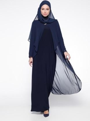 Şifon Detaylı Abiye Elbise - Lacivert