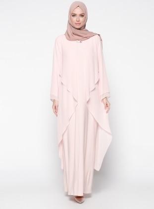 Şifon Detaylı Abiye Elbise - Somon