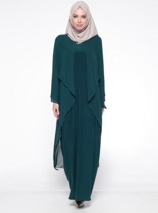Şifon Detaylı Abiye Elbise - Yeşil