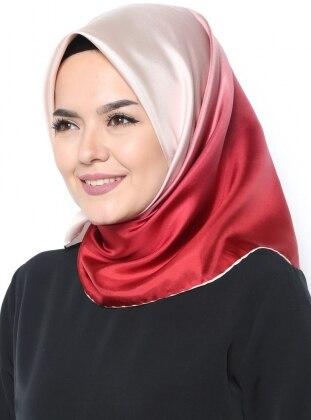 Twill İpek Eşarp - Pudra Kırmızı