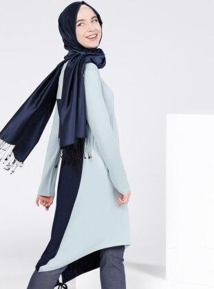 Doğal Kumaşlı Garnili Tunik - Buz Mavi Lacivert Everyday Basic