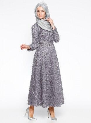 Mustafa Dikmen Gül Nakışlı Abiye Elbise - Gri
