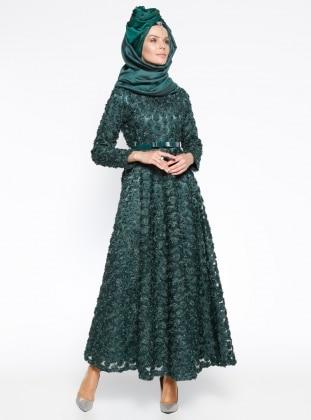 Gül Nakışlı Abiye Elbise - Yeşil