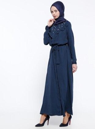 İnci Süslemeli Elbise - Lacivert