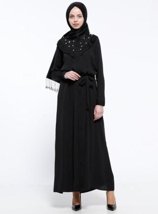 İnci Süslemeli Elbise - Siyah