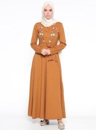 Nakış Detaylı Elbise - Hardal