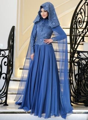 Perin Abiye Elbise - İndigo