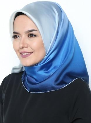 Twill İpek Eşarp - Ekru Mavi