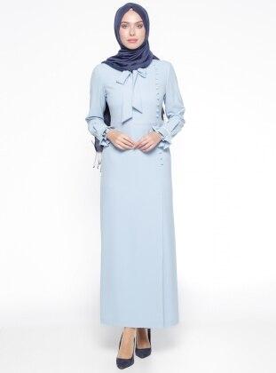 Brit Detaylı Elbise - Mavi Kayra