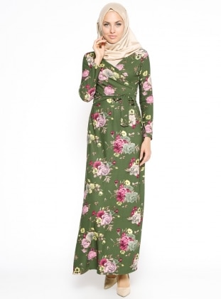 Çiçekli Elbise - Haki Dadali