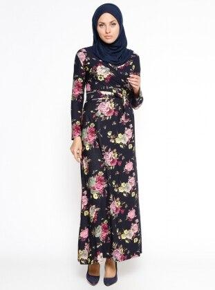 Çiçekli Elbise - Lacivert Dadali
