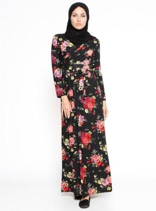 Çiçekli Elbise - Siyah Dadali