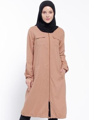 Çizgili Kap - Camel CML Collection