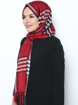 Multi - Maroon - Plaid - Fringe - Shawl
