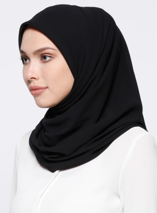 Black - Plain - Chiffon - Scarf - DIFFERENZA