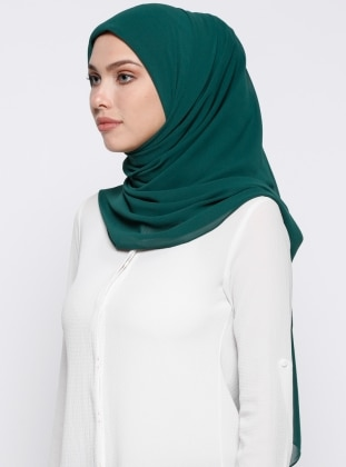 Green - Plain - Chiffon - Scarf - DIFFERENZA
