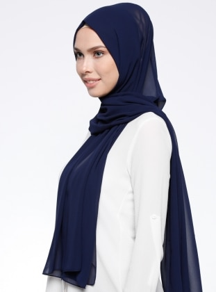 Navy Blue - Plain - Chiffon - Shawl