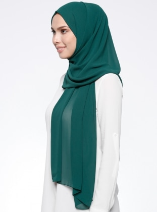 Green - Green - Plain - Chiffon - Shawl