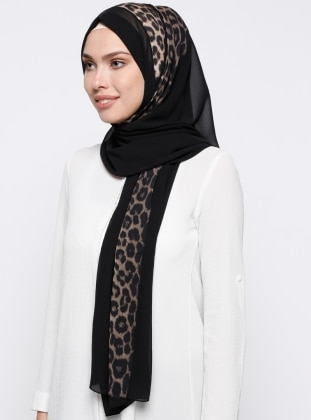 Black - Leopard - Shawl