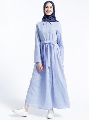Naturel Kumaşlı Çizgili Çıpalı Elbise - Mavi
