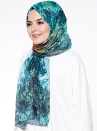 Green - Multi - Printed - Rayon - Shawl